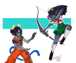 bow crossdressing crossover dragonball_z equius_zahhak filibusterfrog inu_yasha nepeta_leijon sailor_fuku school_uniform