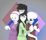 alanahikarichan arm_around_shoulder beta_kids blue_slime_ghost_shirt dave_strider diamond green_atom_shirt grimdorks guns_and_roses hammertime holding_hands hug jade_harley john_egbert mauve_squiddle_shirt multishipping no_glasses palerom red_record_tee reverse_hug rose_lalonde shipping siblings:daverose siblings:johnjade spacetime