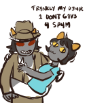 carrying crossdressing crossover fedora food_fight! nepeta_leijon paperseverywhere scratch_and_sniff shipping terezi_pyrope