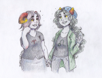 alternate_hair aradia_megido blush freckles holding_hands lion_tamer nepeta_leijon redrom shipping thoughts-and-bubbles
