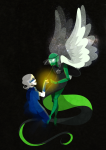 calliope dream_ghost godtier holding_hands muse nannajane redrom rogue roxy_lalonde shipping snake_wine space_aspect stars void_aspect winged_cherub