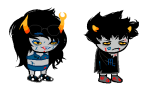 blackrom blood clothingswap image_manipulation karkat_vantas lipstick_stains lovelylilkitten shipping sleepystuck sprite_mode undergarments vriska_serket vriskat