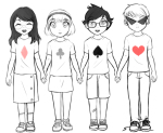 axureerheeid beta_kids clubs_shirt dave_strider diamond_shirt heart_shirt highlight_color holding_hands jade_harley john_egbert lineart rose_lalonde spade_shirt