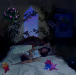 acornbunny bed flowers jade_harley pajamas sleeping solo squiddles
