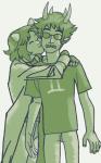 kiss lemon_lime monochrome nepeta_leijon no_hat redrom reverse_hug shipping sollux_captor venidel