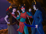 ancestral_awakening_sword apologija aradia_megido ashenrom blackrom dragonhead_cane fashion fedora flarp legal_ramifications legislacerator_suit make_her_pay ocean pir8_coat scourge_sisters shipping terezi_pyrope vriska_serket whip