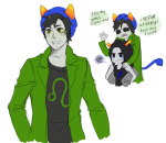 blackoutballad carrying equius_zahhak glassesswap meowrails nepeta_leijon no_glasses request rule63 word_balloon