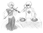 black_squiddle_dress catw1ngs dave_strider grayscale headphones instrument pencil red_baseball_tee rose_lalonde turntables