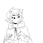 dragon_cape hottang lineart no_glasses seeing_terezi solo terezi_pyrope