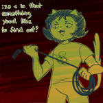 ask babinani limited_palette low_angle nepeta_leijon no_hat solo text whip
