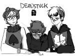 au blood dave_strider golden_afro john_egbert karkat_vantas sburb_logo sketch spade_shirt text time_aspect