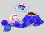 animalstuck aquariumstuck eridan_ampora erifish knitting_needles purple_rain request rose_lalonde salihombox shipping smiling_eridan thought_balloon yarn