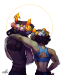 arm_around_shoulder back_angle equius_zahhak filibusterfrog flower_crown flowers meowrails musclestuck nepeta_leijon