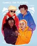 413 aspect_hoodie beta_kids breath_aspect dave_strider dogtier electricgale freckles holding_hands jade_harley john_egbert light_aspect rose_lalonde space_aspect text time_aspect