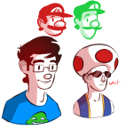 blue_slime_ghost_shirt cosplay crossover dave_strider headshot jamesab john_egbert mario nintendo