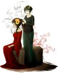 aradia_megido corpse_party dead_aradia fashion formal kanaya_maryam odiegoaway palerom shipping sitting styling_hair