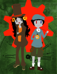 aradia_megido arms_crossed aspect_symbol crossdressing crossover hat no_glasses professor_layton sollux_captor time_aspect x0xmizzkirax0x