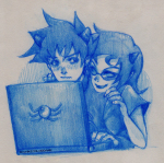 adorabloodthirsty computer head_on_shoulder karkat_vantas monochrome pencil redrom shipping technicolordame terezi_pyrope