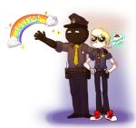 aimless_renegade ar au chameleocoonj crab_apple dave_strider eureka_lemon hat ishades key_lime mandarin_orange music_note rainbow terezi_pyrope trollcops word_balloon