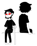 arijandro back_to_back blind_rage dragon_cane gamzee_makara highlight_color humanized no_glasses shipping sitting terezi_pyrope