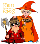 crossover dave_strider godtier hat ket knight light_aspect lord_of_the_rings modtier rose_lalonde seer siblings:daverose time_aspect tolkien