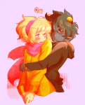 aspect_hoodie blood_aspect blush fairydust-doodles heart hp_lovecrab karkat_vantas light_aspect noahh redrom reverse_hug rose_lalonde shipping word_balloon