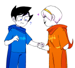 ! breath_aspect godtier grimdorks heart heir holding_hands john_egbert johnroseweek light_aspect redrom rose_lalonde seer shipping