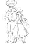 arijandro arm_around_shoulder fantroll sketch weapon