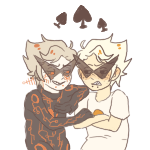 arms_crossed blackrom blush dirk_strider happyghst humanized lil_hal my_little_phony robot shipping spade