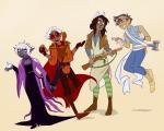 au beta_kids dave_strider dungeons_and_dragons egosweetheart hammer instrument jade_harley john_egbert rifle rose_lalonde sword weapon