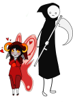 afterlife_caretakers aradia_megido blush death godtier heart maid problem_sleuth_(adventure) redrom scarletthebrave scythe shipping time_aspect transparent