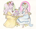 alternate_hair beverage crown fashion feferi_peixes formal freckles nepeta_leijon no_hat octopussy redrom shipping sitting thoughts-and-bubbles