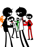 dave_strider davesprite doomyz felt_duds four_aces_suited multiple_personas puppet_tux red_baseball_tee red_plush_puppet_tux silhouette sprite thumbs_up