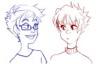 artist-in-training headshot john_egbert karkat_vantas limited_palette lineart sketch