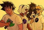 beta_kids claw_hammer dave_strider jade_harley john_egbert katana rose_lalonde starter_outfit thecatprince