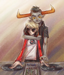 arm_around_shoulder dave_strider headphones red_baseball_tee s'mores shipping syblatortue tavros_nitram turntables