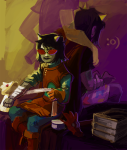 :o) arm_around_shoulder back_to_back book dragon_cape dragonhead_cane gamzee_makara head_out_of_frame legislacerator_suit multiple_personas paperseverywhere pyralspite scalemate_boxers scalemates terezi_pyrope