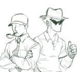 arms_crossed bro clothingswap dad ket lineart monochrome thumbs_up