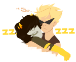 dancestors dirk_strider hug mituna_captor no_hat shipping sleeping text thinking_cap unlocklist
