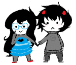 bloodtier chibi dress_of_eclectica holding_hands jade_harley karkat_vantas kats_and_dogs shipping