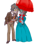 adorabloodthirsty karkat_vantas no_glasses redrom seeing_terezi shipping terezi_pyrope umbrella venidel