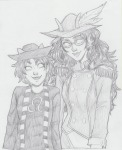 commodore_coat dream_ghost feferi_peixes grayscale huge nepeta_leijon rear_admiral_attire sketch susan-kim
