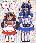 ! aradia_megido crossdressing equius_zahhak saucy_maid_outfit tetratheripper word_balloon