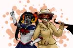 arm_in_arm cane catsandcorn cosplay damara_megido dancestors fedora jane_crocker mochi_cake palerom poirot_mustache sailor_moon shipping