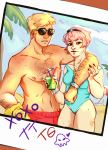 arm_around_shoulder beverage body_modification dave_strider dersecest incest jewelry mariedisgrace no_shirt rose_lalonde seagulls shipping summer swimsuit