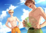bya clouds deleted_source dirk_strider jake_english pixiv pumpkin_patch sburb_logo shipping summer sweat swimsuit