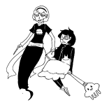 arijandro black_squiddle_dress broom dress_of_eclectica guns_and_roses jade_harley kid_symbol midair monochrome rose_lalonde shipping thorns_of_oglogoth