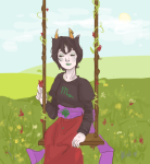 blood clouds flowers gash_sash kanaya_maryam myaverageartblog rainbow_drinker sitting solo