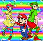 cheese3d crossover ddr heart jake_english jane_crocker mario nintendo this_is_stupid trickster_mode
