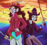 claw_gloves clouds commodore_coat dream_ghost feferi_peixes nepeta_leijon ocean rear_admiral_attire twogiggy